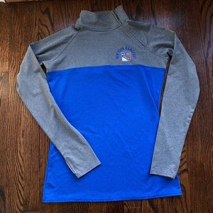 NY Rangers NHL Side Neck Zip up Top, Small